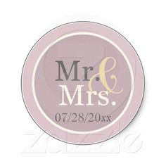 "Lavender Mr. & Mrs. Favor  These adorable stickers come in 2 sizes a large 3"" or a 1.5"". Featuring two different shades of lavender or purple the large Mr. & Mrs. in the center proudly proclaims your new married status then personalized with your wedding date. They make perfect favor stickers in the 3"" size or fantasic envelope seals for your Thank you cards in the 1.5"" size. I'm sure all of you DIY brides out there can look of a thousand ways to use these!"