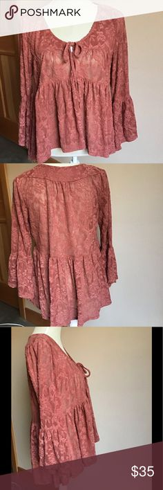 Women/'s Blouse Top ANAC In Fashion Themed Gold Brown Long Sleeves Poly Size S,M