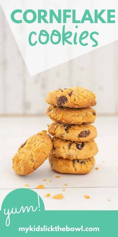 Yummy easy chewy cornflake cookies I grew up with this cornflake cookie recipe and have loved making them with my kids Healthy Baked Snacks, Healthy Homemade Snacks, Healthy Cookies, Yummy Cookies, Healthy Baking, Baking Snacks, Quoina Recipes, Cereal Recipes, Easy Cookie Recipes