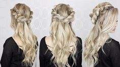 How to: Half-up Half-down pull through braid, and waves tutorial | EASY braid! - YouTube