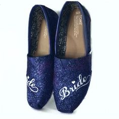 $10 OFF with code: PINNED10 Womens Sparkly Glitter Toms Flats shoes bridal Bride Wedding Comfortable Navy Blue - Glitter Shoe Co