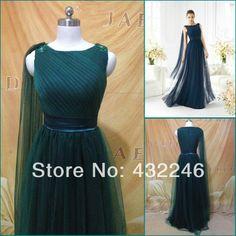 P090 Scoop Neckline Cap Sleeve Empire Satin Waist Olive Green Long Tulle Prom Dress 2014 $133.99
