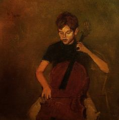 """Painting, """"The Cellist"""", 1965 Cello Art, Cello Music, Art Music, Violin Family, Classical Music, Art Drawings, Beautiful Pictures, Illustration Art, Portrait"""