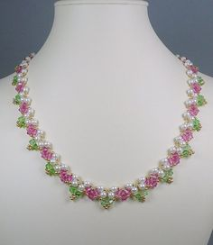 Necklace and Earrings Woven Pearl and Swarovski Crystal Rose Pink and Green Gifts for Her - Ideas & Thoughts Pearl Necklace Designs, Beaded Necklace Patterns, Beaded Earrings, Beaded Bracelets, Crystal Earrings, Necklaces, Crystal Rose, Crystal Beads, Swarovski Crystals