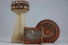 Trio of pottery vases