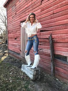 The Sinatra's White Fringe Boots – Baha Ranch Western Wear Fringe Boots Outfit, Cowgirl Outfits, Western Wear, Western Style, Comfortable Fashion, Cute Casual Outfits, Fashion Outfits, Women's Fashion, Clothes For Women