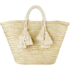 Ilaria Fringe Tassel Tote Bag ($120) ❤ liked on Polyvore featuring bags, handbags, tote bags, ivory, leather handbags, woven leather handbag, handbag tote, beige leather tote and woven tote
