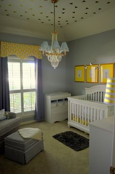 Baby boy - gray, yellow and gold nursery Grey Yellow Nursery, Gold Nursery, Gray Yellow, Cribs, Baby Boy, Bed, House, Furniture, Home Decor