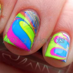 A Girl and Her Polish: Summer Challenge: Day 25 - Summer Watermarble
