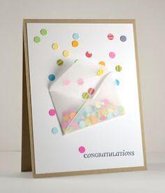 DIY confetti card. Cute idea to adapt for birthdays // Dahlia Memories: Confetti Congratulations
