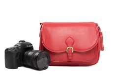 Image of Fashion Red Leather DSLR Camera Bag PU Leather Camera SLR Camera Bag Shoulder Bag 117