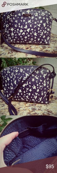 "Kate Spade Hanna Stargazer Crossbody Handbag Saffiano textured with leather trim. Gold hardware which is lovely. A few scratches see pic 4. Rarely used. Comes with care card. Approx 9"" L x 6.5""H x 3"" D. 19""-23"" strap drop. I love this bag but I love totes more! Navy and white. Authentic. kate spade Bags Crossbody Bags"