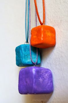 Cube clay necklace