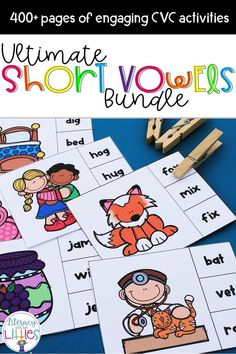 """This bundle is filled with engaging activities that focus on all of the short vowel sounds. These activities are perfect for guided reading instruction, small groups, literacy centers, and with parent volunteers. What's Included: Short A CVC Clip Cards Short A Scoot Game Short A Word Family Puzzles Short A Word Family Booklet Short A Word-Picture Puzzles Short A Sound Boxes {Elkonin Boxes} Short A CVC Small Group Reading Game """"Oh, rats!"""" Short E CVC Clip Cards Short E Scoot Game Short E Word…"""