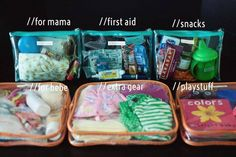 Separate your essentials into little see through bags to make grabbing something in your purse of diaper bag easier!