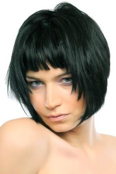 Bob with face framing layers and shorter length flirty bangs.-- ooh, this would be lovely sideparted!