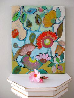 Floral Abstract Painting on Canvas ORIGINAL Art by TwigAndPetal, $55.00