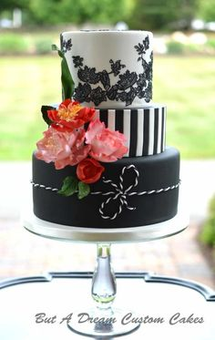 Bold and Bright Birthday Cake Bold black and white birthday cakes with handmade sugar flowers. Elegant Birthday Cakes, Bright Birthday Cakes, 40th Birthday Cake For Women, Birthday Cake For Women Elegant, 40th Cake, 40th Birthday Cakes, 50 Birthday, Birthday Ideas, Pretty Cakes