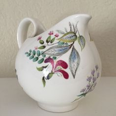 Vintage Hallcraft Eva Zeisel BOUQUET Floral Creamer Pitcher by Hall China Co USA #Hallcraft