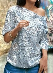 Skew Neck Sequins Embellished Silver T Shirt on sale only US$25.90 now, buy cheap Skew Neck Sequins Embellished Silver T Shirt at liligal.com