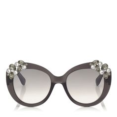Dark Grey Oversized Sunglasses with Jewelled Clusters - Megan S S S 15 - JIMMY  CHOO 96ebf0b39d88