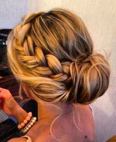 Beautiful bohemian updo, thick braid, bun