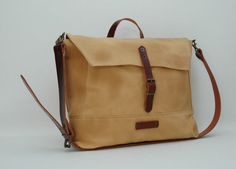 waxed canvas messenger bag with leather by NATURALHERITAGEBAGS