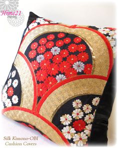 Vintage Japanese Kimono-OBI--pillow case, cushion cover, silk cushion,sofa bedding,embroidery gold,black,red--Made in Japan 004 by Hime21 on Etsy