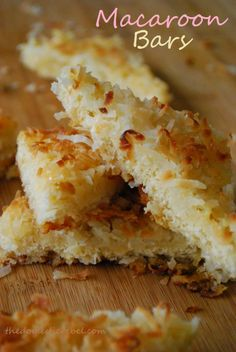 macaroon bars    - Preheat oven to 350'. Liberally grease a 13×9 inch pan with cooking spray.   - layer 1.5 C coconut.   - Combine 1.25 tsp almond extract and 1 can sweetened condensed milk. Drizzle half over the coconut. - Unroll tube of crescent roll & pinch the perforations to seal; add this layer. - Sprinkle 2 C coconut on top and remaining milk. Bake 30 - 35 min
