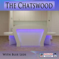Curved reception desk with blue led lights