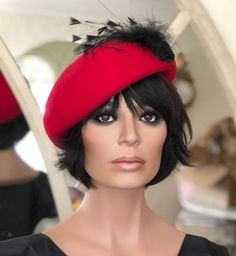 Ladies Red Hat, Women's Red Hat, Formal Winter Hat, Red Winter Hat, Formal Hat, Ladies Winter Hat, Red Cocktail Hat, Dressy Red Hat