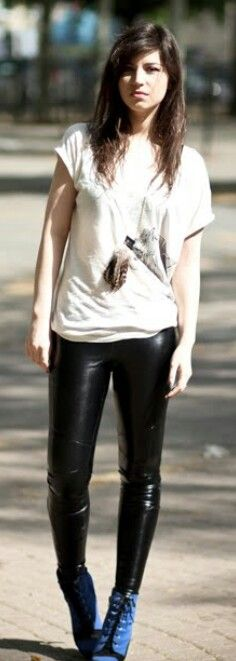 Leather pants casual