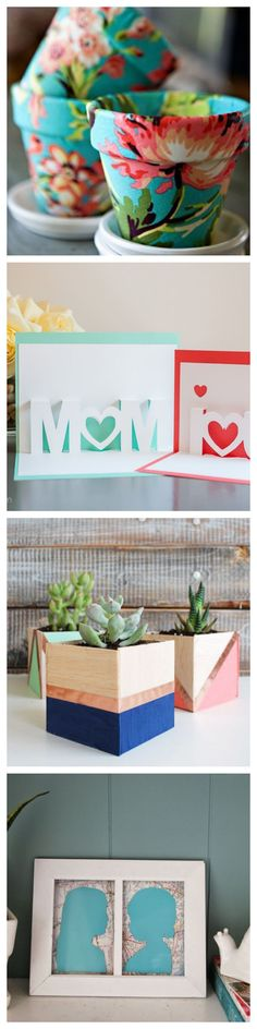 Homemade Mother's Day gifts - planters to paper silhouettes and beyond.  Great for the #DIY inclined