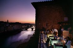 La Terrazza Rooftop Bar at the Continentale in Florence is a great spot for a cocktail with stunning views of the Arno River
