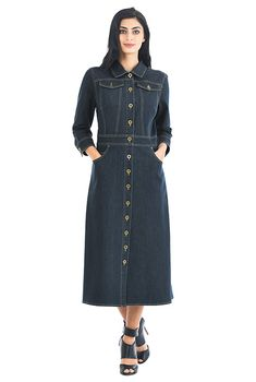 d8311358489 Deep indigo denim midi shirtdress. Denim Shirt DressDenim SkirtAbaya ...
