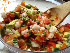 Spicy pico de gallo with avocado -- wonderful any time of the year but especially with fresh tomatoes from the garden!