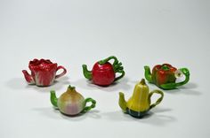 Tiny decorative dollhouse miniature fruit and vegetable teapot~ONION~SQUASH~