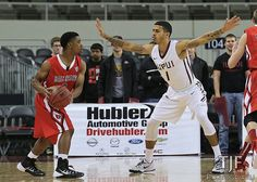 Nov 22, 2014 | Indianapolis, IN: IUPUI's Khufu Najee (#1) applies pressure as Tye Wilburn (#3) sets up the Ball State offense.