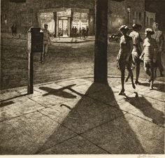 """Corner Shadows,"" by printmaker Martin Lewis, depicts a Depression-era city of lamp light, back streets, and regular New Yorkers absorbed in their own thoughts, even in a crowd. Look close, and you can see ads for Ex-Lax, soda, and seltzer, plus a counter occupied by a few lonely souls."