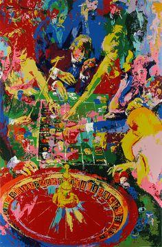 "LEROY NEIMAN /""PLACE DU CASINO MONTE CARLO/"" ART POSTCARD"