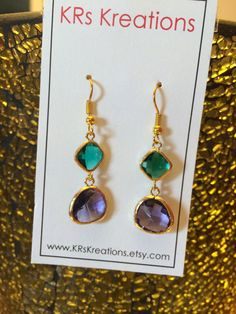 Unique Teal and Purple Gold Plated Drop Earrings by KRsKreations, $22.00