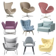 Pastel chairs; 1.Fritz Hansen, 2.Schelly Bo Concept, 3.Swan, 4.Manta Noti, 5.Oldstyle Nordic Decoration, 6.Soderhamn IKEA, 7.By Naked, 8. Organic Chair Vitra Atak Design, 9.Home aRt Gallery
