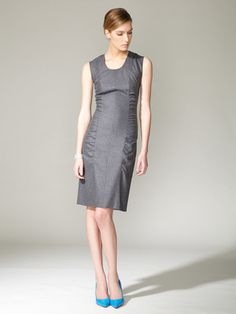 Narciso Rodriguez Wool Blend Ruched Dress