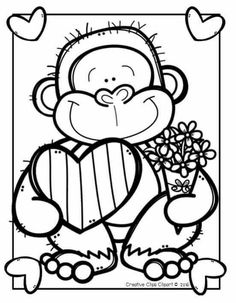 Frog Coloring Pages, Valentine Coloring Pages, School Coloring Pages, Coloring For Kids, Coloring Sheets, Coloring Books, Valentine Crafts For Kids, Art Programs, Cute Drawings