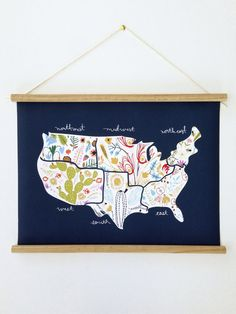 Floral America Canvas Map by littlelow on Etsy