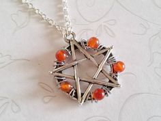 Pentacle Protection Necklace in Carnelian Hand Crafted by Isis Creations ~Wiccan, Pagan, Spiritual Healing Gift Idea 4 Samhain & Yule by IsisCreationz on Etsy