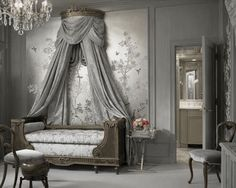 ♅ Dove Gray Home Decor ♅  classical grey bedroom with canopy