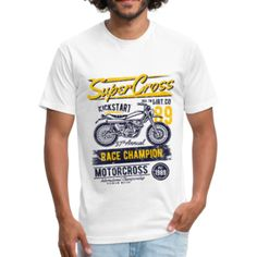 Use code: Summer15 to get 15%OFF + FREE SHIPPING 🥰 SuperCross - Fitted Cotton/Poly T-Shirt by Next Level Wash N Dry, Fabric Weights, Free Shipping, Tees, Fitness, Sports, Cotton, Mens Tops, T Shirt