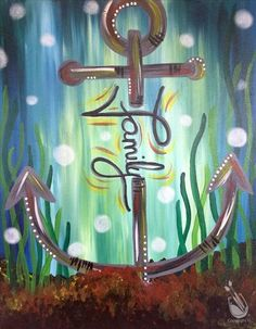 View our painting classes calendar to paint and drink wine in Painting with a Twist in Fort Worth West TX. Anchor Canvas Paintings, Anchor Painting, Nautical Painting, Diy Canvas Art, Acrylic Painting Canvas, Diy Painting, Family Painting, Paint And Sip, Painting Inspiration