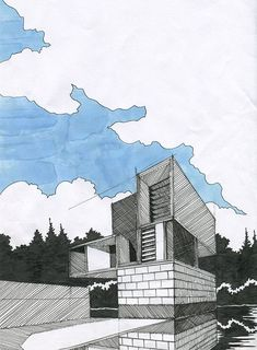 ideas drawing architecture sketches buildings art portfolio for 2019 Sketchbook Architecture, Croquis Architecture, Architecture Concept Drawings, Architecture Graphics, Landscape Architecture, Landscape Design, Architecture Design, Architecture Portfolio, Portfolio Architect